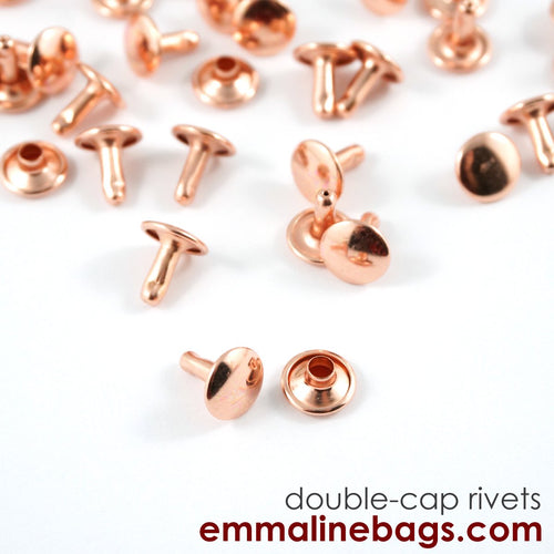 Double Cap Rivets - Medium - Copper