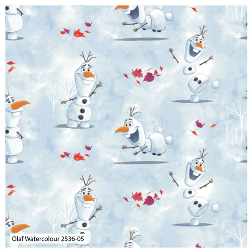 Frozen 2 Fabric Collection - Olaf Watercolour