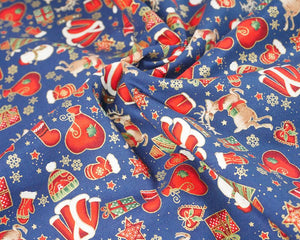 Christmas Presents on Navy Cotton Fabric