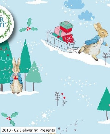 Peter Rabbit Fabric Christmas Cotton Print - Delivering Presents