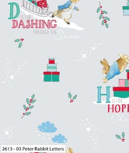 Peter Rabbit Fabric Christmas Cotton Print - Letters