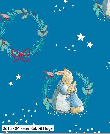 Peter Rabbit Fabric Christmas Cotton Print - Christmas Hugs