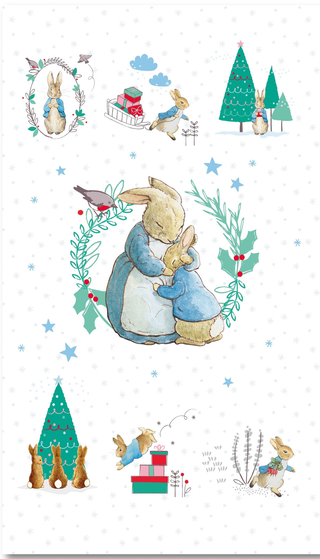 Peter Rabbit Fabric Christmas Cotton Print - Panel