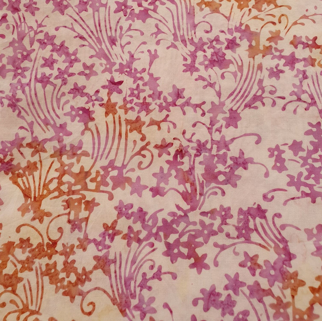 Sew Simple Stamped Batik Fabric - Orange and Pink Floral - per half metre