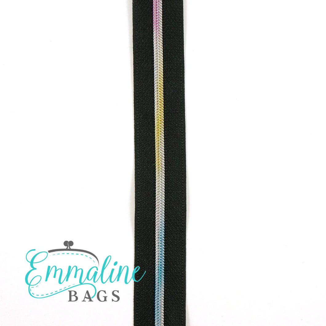Emmaline Zipper-by-the-Yard - Size #3 - Black/ Rainbow Coil/ 10 Yards