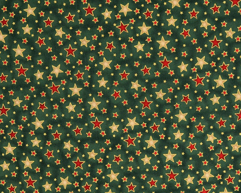 Shining Stars Metallic on Bottle Cotton Fabric