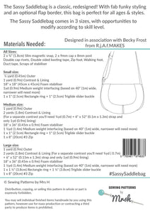 Sassy Saddlebag - Sewing by Mrs H Bag Pattern Back
