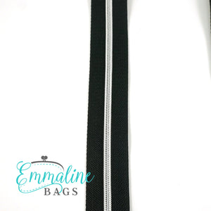 Emmaline Zipper-by-the-Yard - Size #3 - Black/ Silver Coil/ 10 Yards