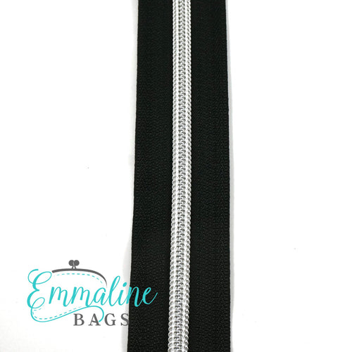 Emmaline Zipper-by-the-Yard - Size #5 - Black/ Silver Coil/ 10 Yards