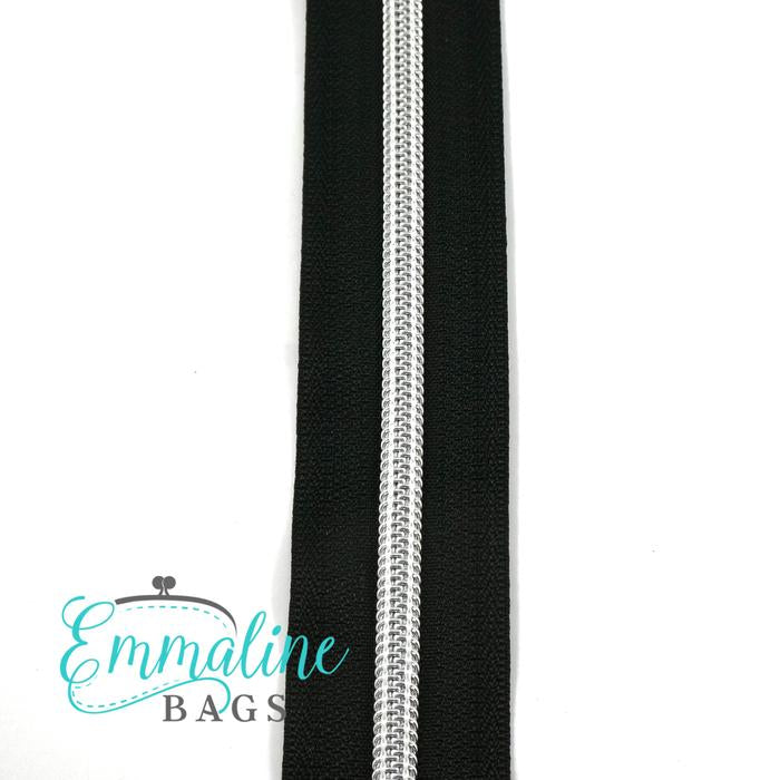 Emmaline Zipper-by-the-Yard - Size #5 - Black / Silver Coil - 3 Yards