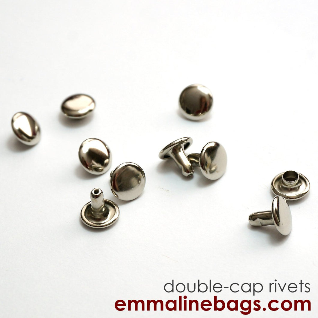 Double Cap Rivets - Medium - Nickel