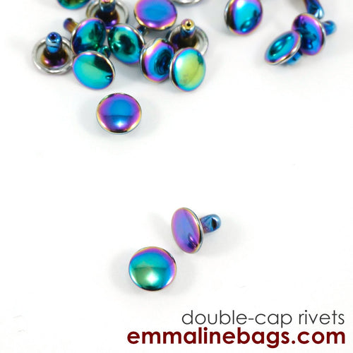 Double Cap Rivets - Medium - Iridescent Rainbow