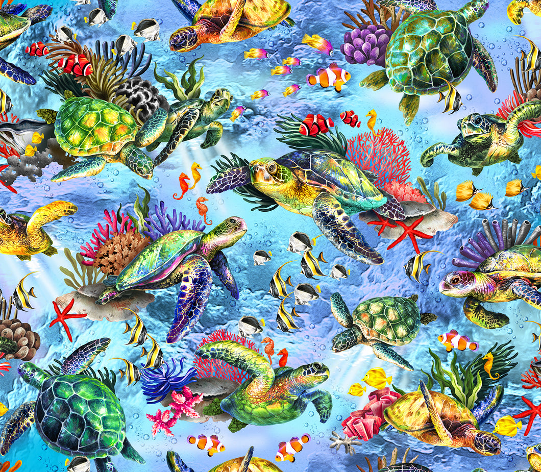 The Reef Cotton Print - Turtles