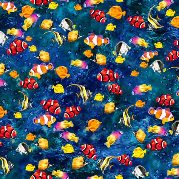 The Reef Cotton Print - Small Fish