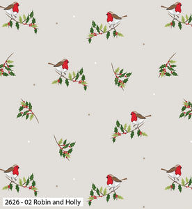 Traditional Christmas Cotton Print - Robin and Holly