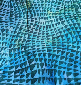 Sew Simple Stamped Batik Fabric - Blue and Green Snakeskin