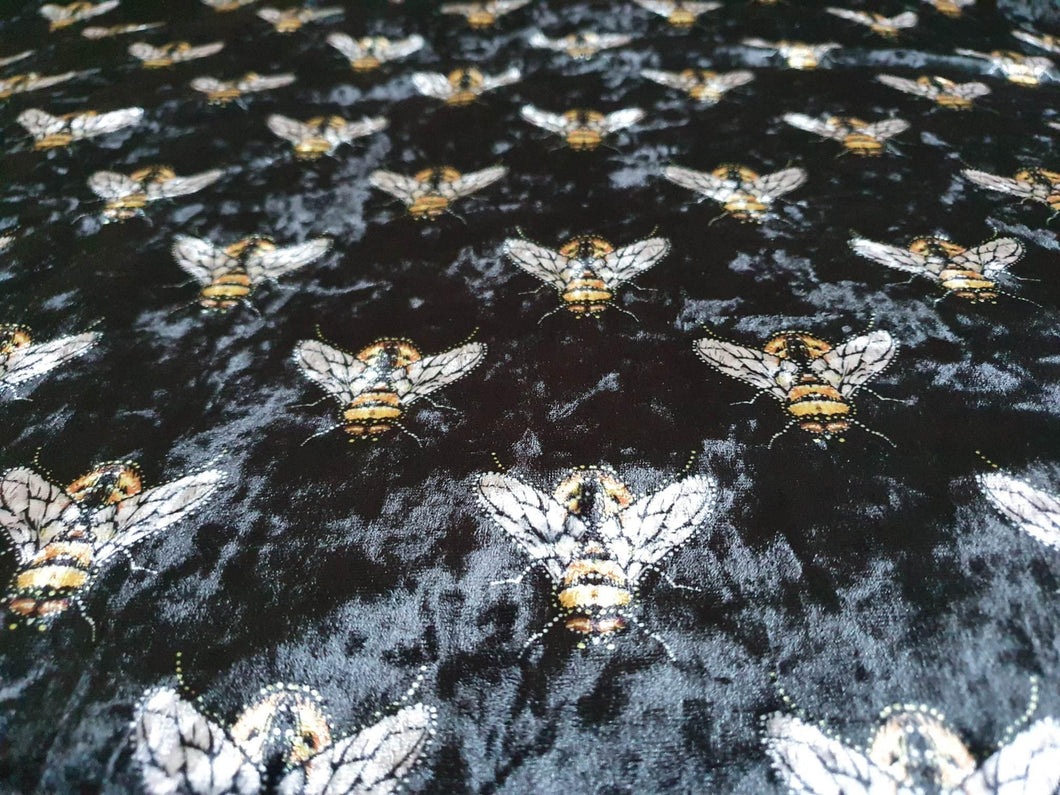 Velvet - Bees on Black - per half metre