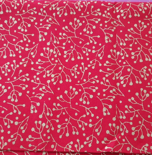Traditional Christmas Cotton Print - Metallic Gold Berry on Red