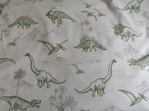 Canvas Cotton Print Fabric - Dino Land - per half metre