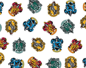 Harry Potter Cotton Fabric - School Crest White