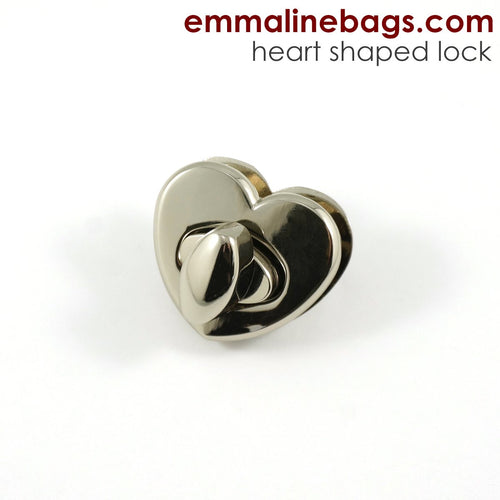 Heart Shaped Bag Lock - Nickel