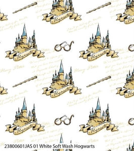 Harry Potter Cotton Print - White Soft Wash Hogwarts - per half metre