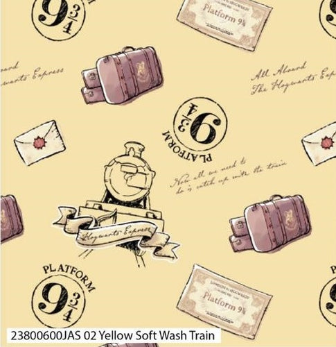 Harry Potter Cotton Print - Yellow Soft Wash Train - per half metre