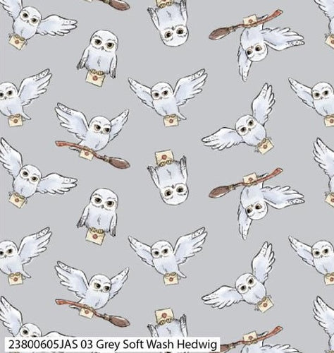 Harry Potter Cotton Print - Grey Soft Wash Hedwig - per half metre