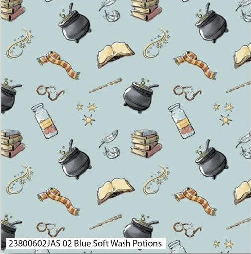 Harry Potter Cotton Print - Blue Soft Wash Potions - per half metre