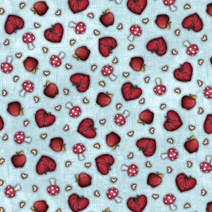 Santoro Gorjuss My Story Fabric Collection - Hearts & Mushroom Toss Light Blue