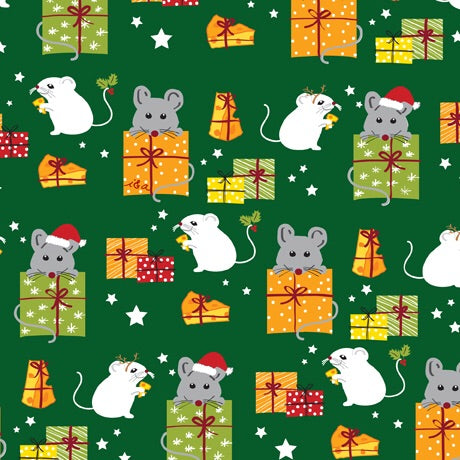 Meowy Christmas Fabric Collection - Mice & Gifts Green