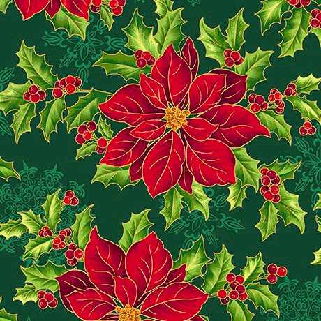 Pretty Poinsettias Fabric Collection - Large Poinsettias Forest