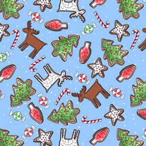 Reindeer Antics Cotton Print - Christmas Cookie Toss Light Blue