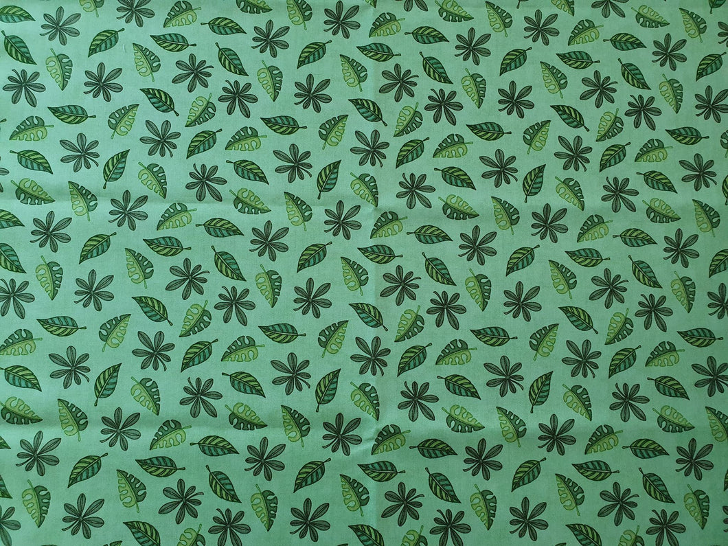 Jungle Buddies Cotton Print - Leaves on Green