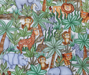 Jungle Buddies Cotton Print - Animals on Cream
