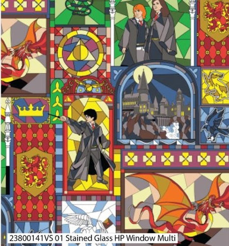 Harry Potter Cotton Print - Stained Glass Harry Potter Windows Multi - per half metre