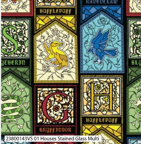 Harry Potter Cotton Print - Houses Stained Glass Multi - per half metre