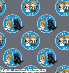 Star Wars Cotton Print Fabric - Kawaii Duo Tokens Grey - per half metre
