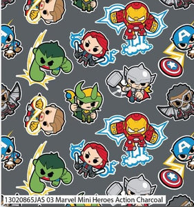 Marvel Cotton Print - Marvel Mini Heroes Action Charcoal - per half metre
