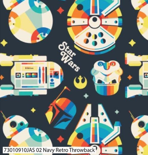 Star Wars Cotton Print - Navy Retro Throwback - per half metre