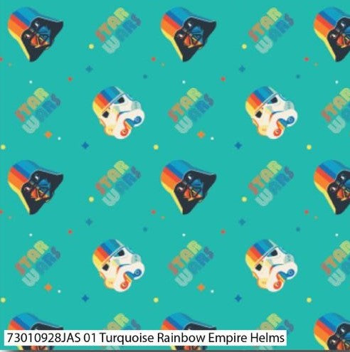 Star Wars Cotton Print - Rainbow Empire Helms - per half metre