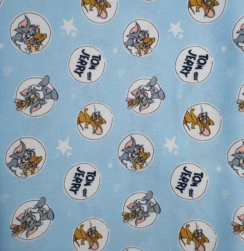 Tom and Jerry Cotton Print - Character Bubbles on Blue