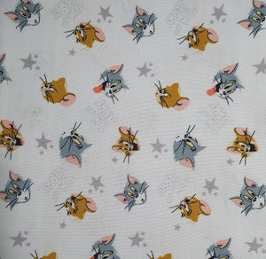 Tom and Jerry Cotton Print - Character Heads and Stars on White