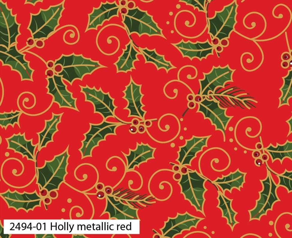 Traditional Christmas Fabric Collection - Holly Metallic Red