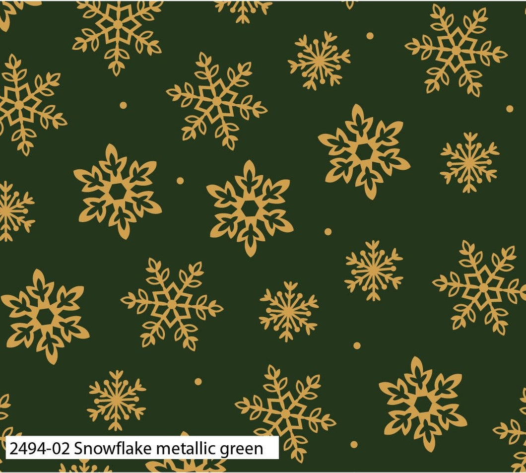 Traditional Christmas Fabric Collection - Snowflake Metallic Green