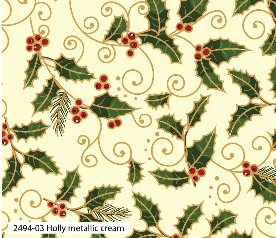 Fabric Remnant - Traditional Christmas- Holly Metallic Cream
