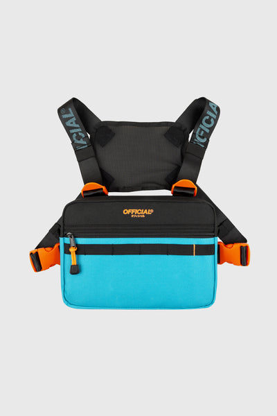 Color Flip Utility Chest Bag (Black & Teal)