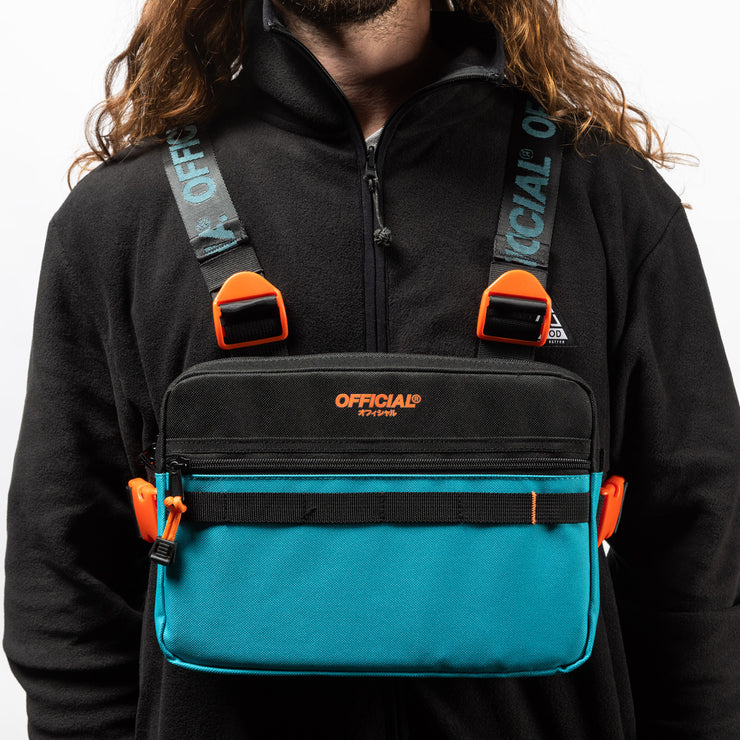 Chest Utility Bag (Black & Teal)