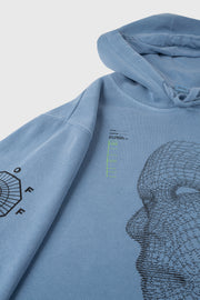 Facial Recognition Hooded Sweatshirt (Slate Blue)