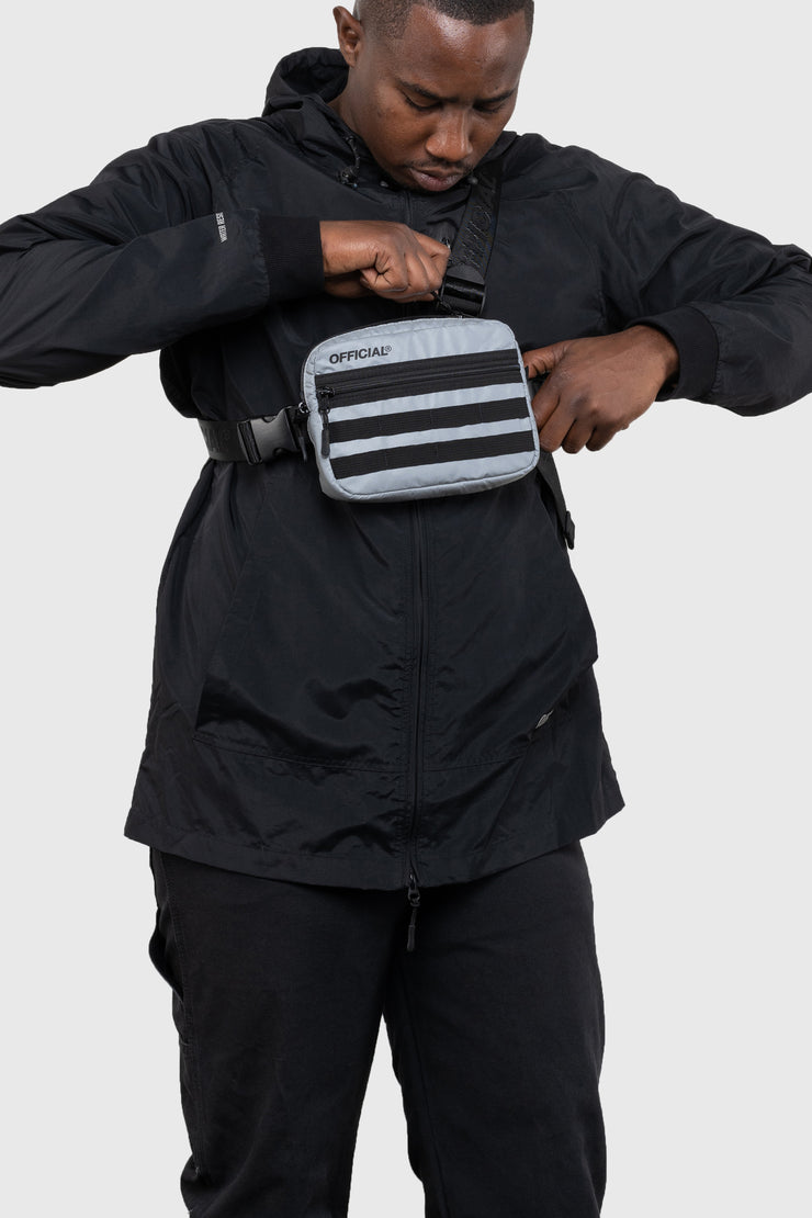 RFLCTIV Silver Reflective Tri-Strap Chest Utility Bag